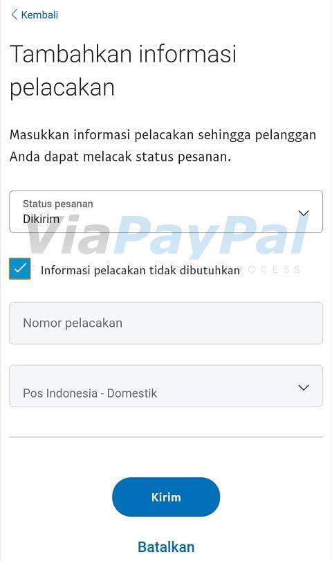 Tambahkan informasi pelacakan PayPal