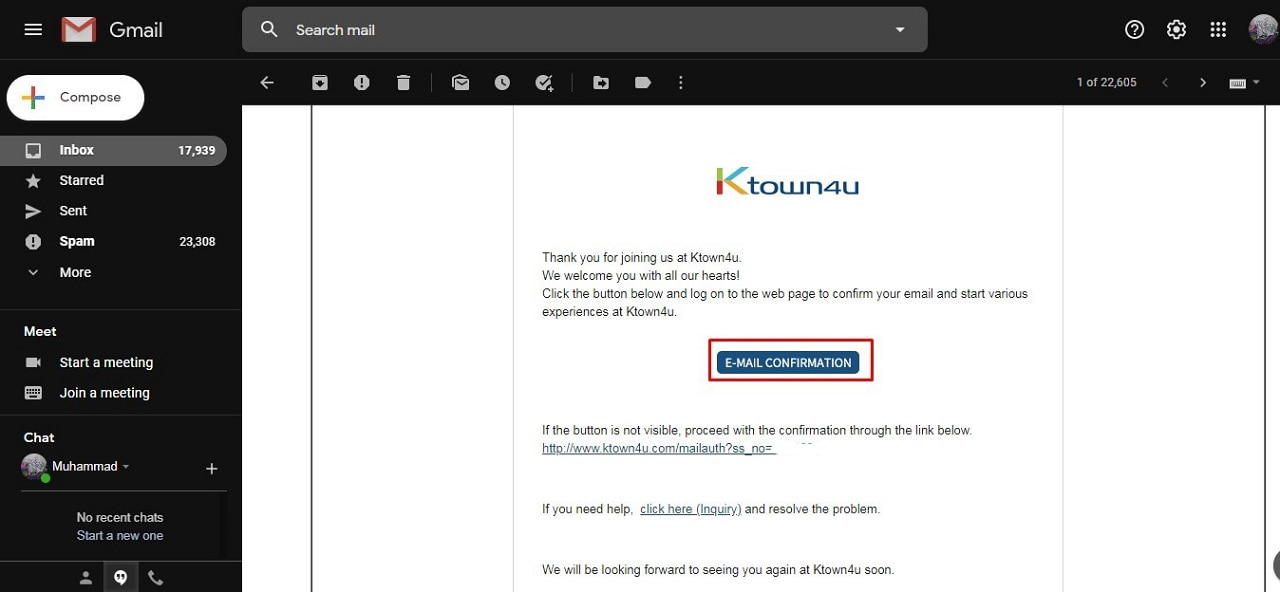Konfirmasi Email Ktown4u
